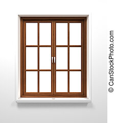 Wooden window isolated on white background.