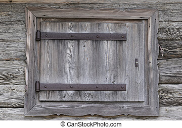 wooden window of old barn