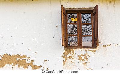 wooden window on wall