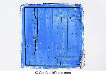 Wooden window shutter in Zakynthos island, Greece