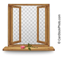 Wooden window with a red rose on the windowsill. Vector.