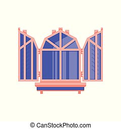 Wooden window with shutters, architectural design element vector Illustration on a white background