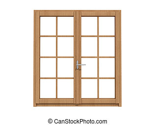 wooden windows - wooden window isolated on white - rendering