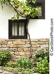 Wooden windows of old house