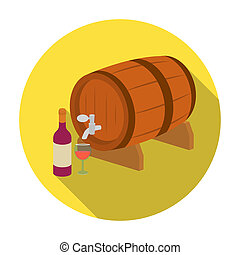 Wooden wine barrel icon in flat style isolated on white background. France country symbol stock bitmap, rastr illustration.