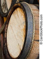 Wooden wine barrels - background