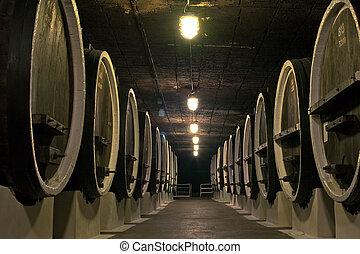 wooden wine barrels in the cellars of winemakers