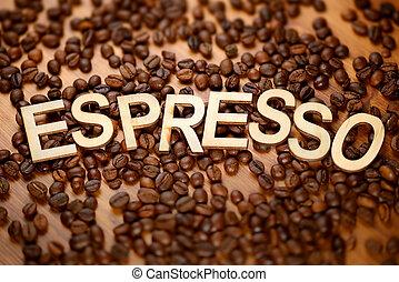 Wooden word Espresso