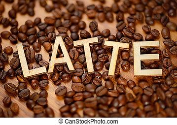 Wooden word Latte