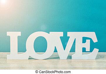 wooden word love.