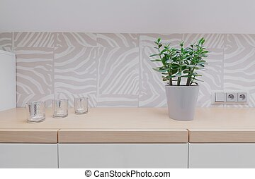 Wooden worktop and modern backsplash - Close up of wooden...