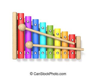 Wooden xylophone with two wood drum sticks 3D