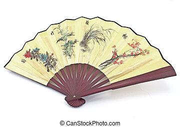 Wooden yellow oriental fan on white background