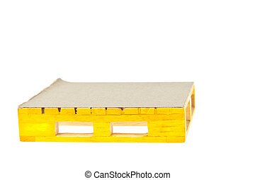 wooden yellow palette on white background