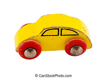 Wooden yellow retro toy car isolated on white