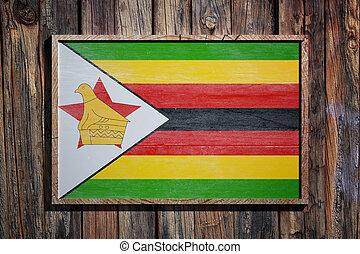 Wooden Zimbabwe flag