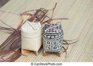 Woodensticky rice box it handicraft from Thailand