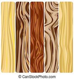 WoodGrain-26 - Five wooden boards. Vector abstract wood...