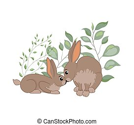 woodland animals - Cute woodland forest animals rabbit. ...