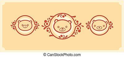 Woodland animals icon set. Three teddy bears vector characters.