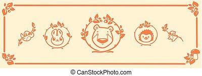 Woodland animals icon set. Vector characters bear rabbit hedgehog.
