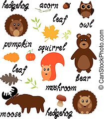 Woodland Animals - vector woodland animals with words