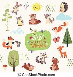 Woodland baby animals vector set