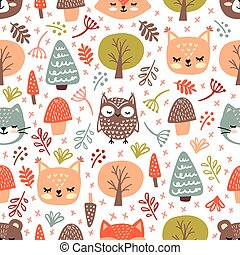 Forest Vector Seamless pattern