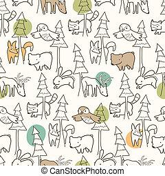 Woodland Creatures Pattern - Seamless pattern of woodland...