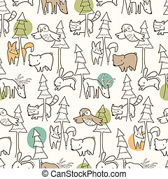 Seamless pattern of woodland creatures.
