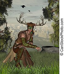 Horned woodland nature god at the edge of a forest, 3d digitally rendered illustration