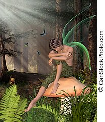 Woodland Fairy Boy - Fairy Boy with green gossamer wings...