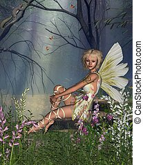 Woodland Fairy - Fairy sitting in a woodland glade, 3d...