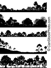 Woodland foregrounds - Set of editable vector foregrounds of...