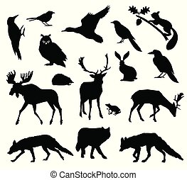 Woodland forest. Animals living in european forest. Vector icon set of silhouette. National park.