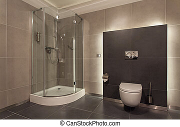 Woodland hotel - Luxurious bathroom interior, wc, shower