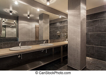 Woodland hotel - Public bathroom interior - Woodland hotel -...