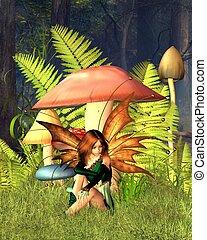 Woodland Mushroom Fairy with forest