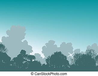 Woodland treetops - Editable vector illustration of tree...