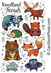 Woodland tribal animals vector set - Set of cute woodland...