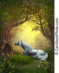 A squirrel watches a white unicorn resting under branches of forest trees.