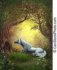 Woodland Unicorn - A squirrel watches a white unicorn...
