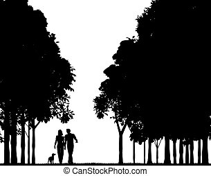 Woodland walk - Editable vector silhouette of a couple...
