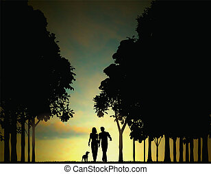 Woodland walkers - Editable vector illustration of a couple...