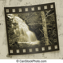Woodland Waterfalls - Cascading waterfall with film effect...