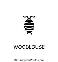 Woodlouse flat vector icon