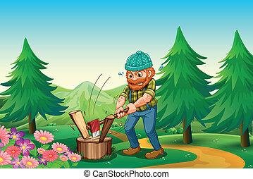 woodman, 庭, よく働く, イラスト, 木, たたき切る, 丘の上