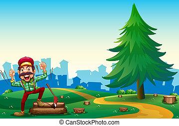 woodman, baum, kiefer, wälder, hacken, gipfel