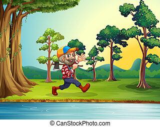 woodman, boldog, gyalogló, folyópart