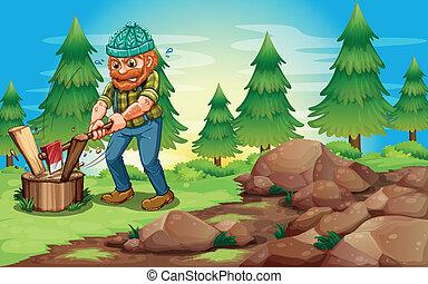 woodman, erdő, vaskos, hintáztatni